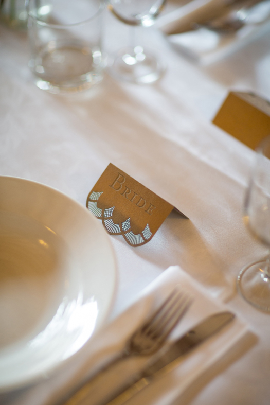 Close up of laser cut place card