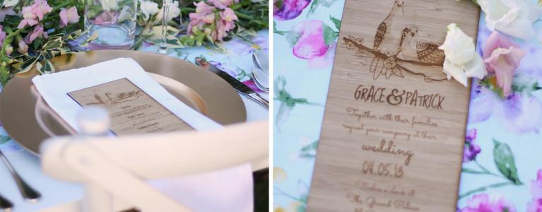 Vintage wedding invitations- Bamboo Love Birds Invitation