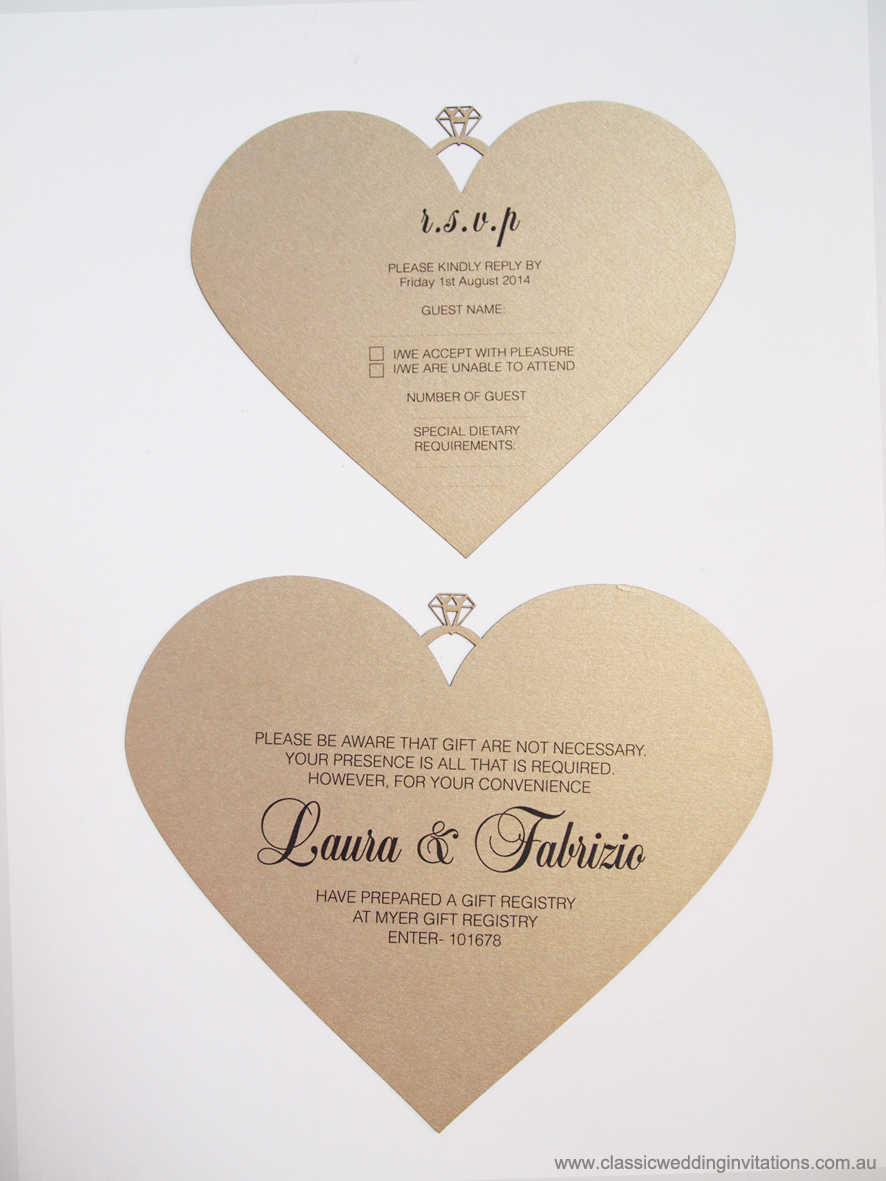 Classic Wedding Invitations - love heart invite