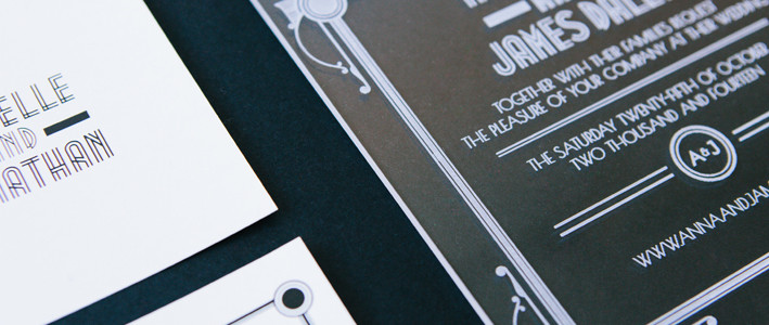 Art Deco Glamour acrylic wedding invitations