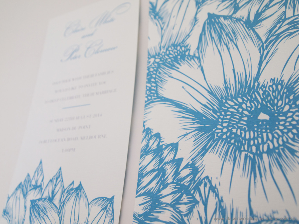 Summer botanicals floral invitations
