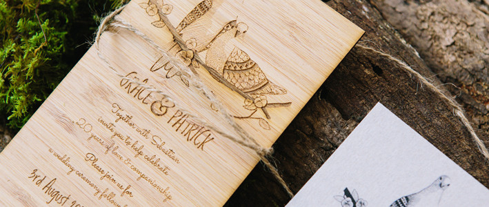 Country wedding invitations- Love Birds on Wood