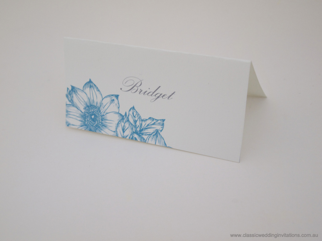 Summer botanicals wedding name card