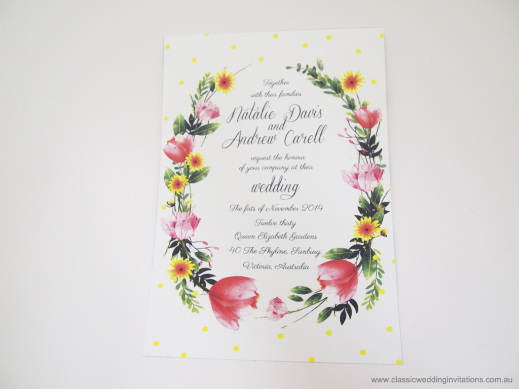 Natalie & Andrew's spring themed floral wedding invitations