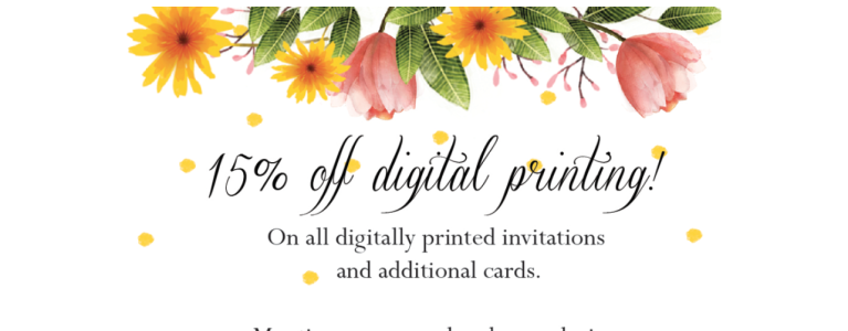 Digital Printing- 15% discount on wedding invitations!
